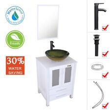"24"" White Bathroom Vanity Green Tempered Glass Vessel Sink Faucet W/ Top Mirror"
