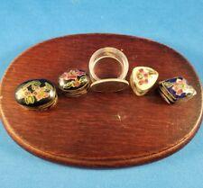 Four (4) Vintage Tiny Miniature Cloisonne Pill/Trinket Boxes, Hinged, Floral