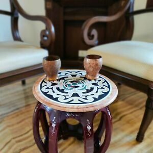 Black Marble Inlay Small Side Table, Centerpiece, Lazy Susan Marquetry Art Deco