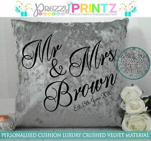 Mr and Mrs Cushion Crushed Velvet Grey Wedding Anniversary Gift Newlyweds Unique