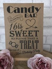 16th Personalised 16 Is Sweet Table Candy Bar Birthday Party Sign Kraft/White