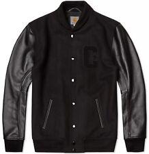 CARHARTT WIP STANFORD VARSITY JACKET, Leather/Wool, Black, M