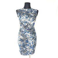 Rinascimento Dress S Blue Black Snake Print Ruched Waist Bodycon Mini Sleeveless