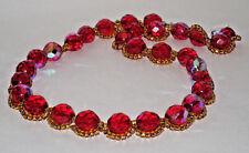 Women Necklace Red Beads with Gold Seed Beads