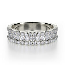 Diamond Ring Size 9 1.00 Carat Round Half Eternity Wedding Ring 18k White Gold