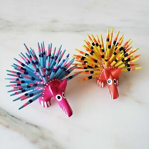 Mexican Mini Porcupine  Oaxacan Alebrije Wood Carving