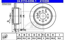 2x ATE Discos de Freno Traseros Pleno 265mm 24.0110-0206.1