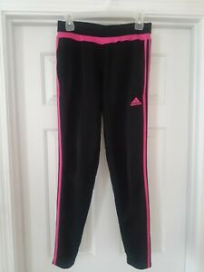 Adidas Womens Climacool Black Joggers W/Pink Stripes Ankle Zip Size Small