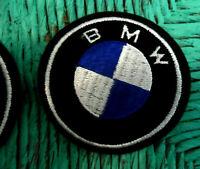"Vintage 70's BMW Motorcycle PATCH, Applique, Blue, Black, White, 3 1/16"" across"