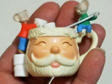 Hallmark christmas ornament  friends Santa face mice red green cup of friendship