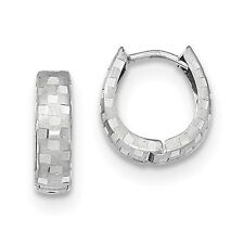 14K White Gold Diamond Cut 4mm Patterned Hinged Hoop Earrings (0.5IN Long)