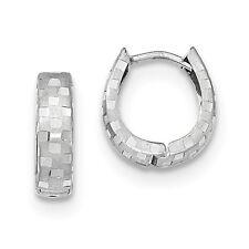 14K White Gold Diamond Cut 4mm Patterned Hinged Hoop Earrings (0.5IN Long)