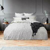 Bas Phillips Sutton Grey Quilt Duvet Doona Cover Set 100% Cotton