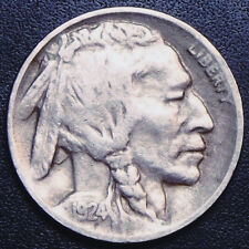 High Grade 1924-D Buffalo Nickel Key Date w/Much Of Horn Visible & Full Date,