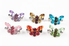 Any 4pcs fashion women crystal butterfly brooch scarf hijab pin