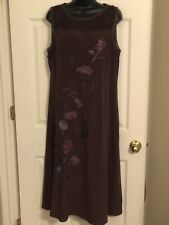 NWT $188- Sundance- Silk, Plum/Brown, Embroidered Flowers, Midi-Dress, Sz 14