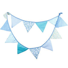 12 Flags 3.2m Blue Cotton Fabric Banners Personality Wedding Bunting Flags