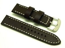 22mm Brown Leather Contrast Stitch Watch Strap Stainless Buckle For Men's