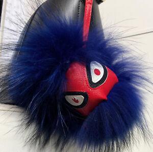XXL Taschenanhänger Blau Charm Monster Finnraccoon Echtfell Pelz Blogger