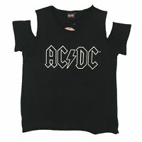 AC/DC Hollow Logo Open Cold Shoulder Girls Womens Black T Shirt New Official