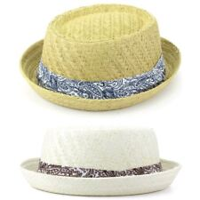 ad3897c81b0da Straw Hat Porkpie Pork Pie Trilby Mens Ladies Summer Sun Retro Unisex  Hawkins