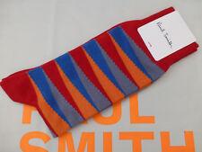PAUL SMITH Exquisite Sock Italian Red OPTICAL Stripe 1 p/pk Cotton Socks BNIP