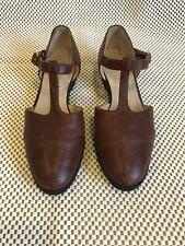 Womens Vintage Salvatore Ferragamo Brown Leather T-strap 6 1/2 B