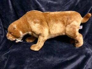 "Rare Hansa Plush Prowling Saber Tooth Cat 18"" x 8.5"""