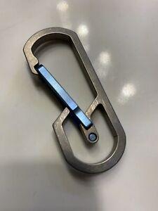 Titanium Carabiner Snap Spring Hook Clip, EDC Keychain, Key Ring, Blue Anodized