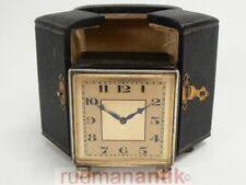 REISE UHR ART DECO SWISS CARRIAGE CLOCK SILBER 935 - SCHWEIZ um 1930 punziert