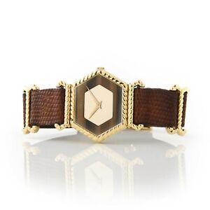 Vintage Ladies 18K Gold Piaget Watch Tigers Eye Dial, Leather Strap