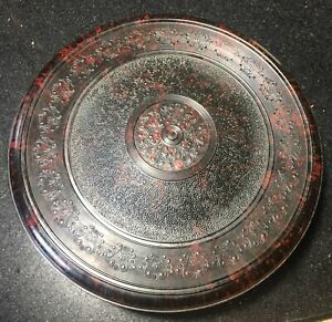 """Vintage Splatter Bakelite Domart Sewing Box Rotating Lift Out Tray 10"""" Round Lid"""