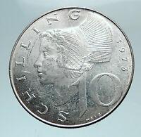 1973 AUSTRIA Wachau Woman with Shield 10 Schilling Silver Austrian Coin i81109