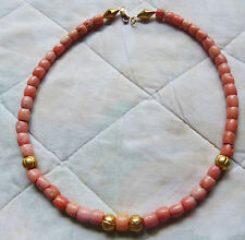 Antique pink coral  necklace, Yemen coral. untreated, 34 g, gold beads
