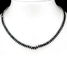 VERY RARE NATURAL 6x3mm/130p BLACK SAPPHIRE-STERLING 925 SILVER NECKLACE 18.5""