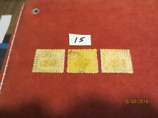 No-20-1861 Western Aust; One Penney Yellow -3 Stamps-Used -