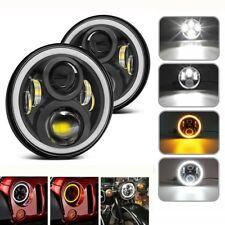 7 Inch LED Headlight with White Angel Eyes+Amber Turn Signal Halo For Jeep JK TJ