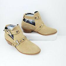 Rebecca Minkoff Leather Ankle Booties Women Size 6.5 M Tan Buckle Heel Shoe Stud