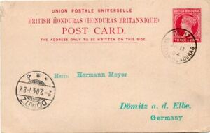 BRITISH HONDURAS: Postal stationery postcard Belize to Germany 1904. Arr.canc.