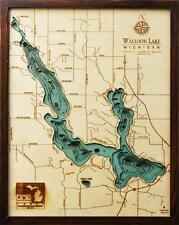 "WALLOON LAKE, MI  16"" x 20"" New, Laser-Cut 3-Dimen Wood Chart/Lake Art Map"