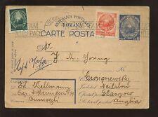 Rumania 1950 mejorado tarjeta de papelería a Escocia
