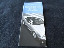 2001 Mercedes Benz PRICE Brochure SL500 SL S500 E55 S55 AMG CL500 Option Catalog