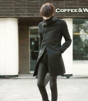 Fashion Men's Korean Wool Blend Slim Fit Long Jacket Trench Coat Suit Outwear