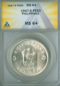 1947-S PHILIPPINES SILVER PESO ANACS MS 64 FREE S/H (2126473)