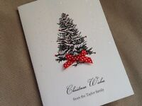 10 Pack of Handmade Personalised Christmas Cards Xmas Fir Tree Sparkle - white
