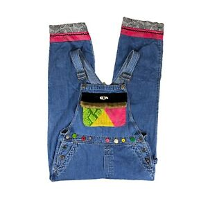 VTG BIB OVERALLS Denim Whimsical One-Of-A-Kind Hand Crafted Embellishments Sz M