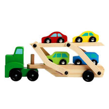 Wooden Car Transporter Toy Double Decker Trailer with 4 Mini Wooden Cars Toy