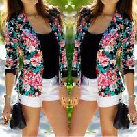 Womens Floral Blazer Suit Casual Jacket Coat Long Sleeve Slim Fit Outwear Tops