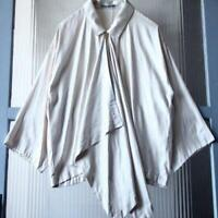 ISSEY MIYAKE Ladies Drape Blouse Beige 100% Polyester S size f/s w/tracking
