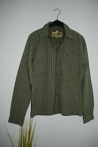 IDPDT | cooles Herrenhemd Langarm Hemd  Gr. S | OLIVGRÜN STRIPES gerader Schnitt